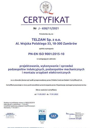 Certyfikat PN-EN ISO 9001:2015-10