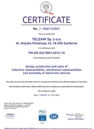Certificate PN-EN ISO 9001:2015:10